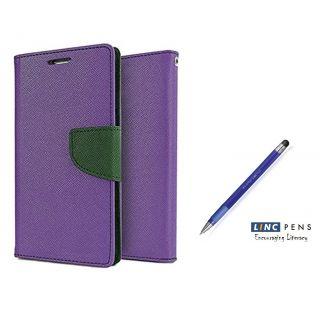Micromax Bolt Q333 Mercury Wallet Flip Cover Case (PURPLE)  With STYLUS PEN