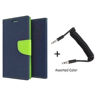 MICROMAX E311  Mercury Wallet Flip Cover Case (BLUE) With AUX SPRING cable