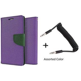 HTC Desire 820 Mercury Wallet Flip Cover Case (PURPLE) With AUX SPRING cable