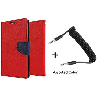 Micromax Yu Yureka Mercury Wallet Flip Cover Case (RED) With AUX SPRING cable