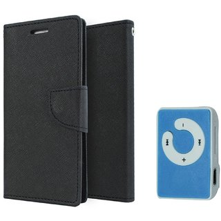 Samsung Galaxy Trend Duos S7392 Mercury Wallet Flip Cover Case (BLACK) With Mini MP3 Player