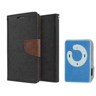 Micromax Canvas Gold A300 Mercury Wallet Flip Cover Case (BROWN) With Mini MP3 Player