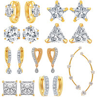 Jewels Galaxy Bestselling Combos Of Fancy American Diamond Earrings And 1 Earcuff - Combo Of 9