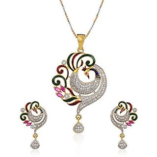 YouBella CZ Designer Peacock Pendant Set with Chain and Earrings