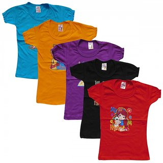 Jayavarshini Girls T-shirt asorted color combo of 5-WS
