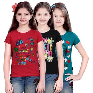 Round Neck hosiery T-shirt For Girls (Set of-3)-WS