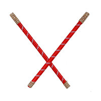 Mid Age Red Colour Handcrafted Wooden Dandiya Sticks Decorated With Gota Lace For Navratri And Garba Celebrations