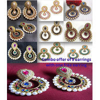 Combo Offer Of 9 Polki Earrings with Free Earring