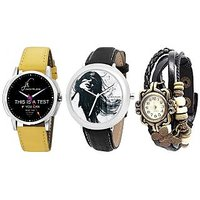 Jack Klein Round Dial Leather Strap Elegant Analog Wrist Watches