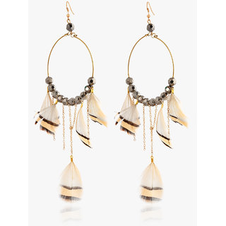 Oh Flossy Off White  Beige Feather Earring-6153JEWL