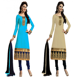 Nilkanth Enterprise Latest Blue And Cream Color ComboPack Dress Material