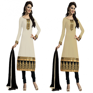 Nilkanth Enterprise Latest White And Cream Color ComboPack Dress Material