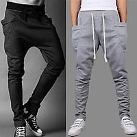 ToYouth Mens Black Grey Ribbed Track Pants (G#2)