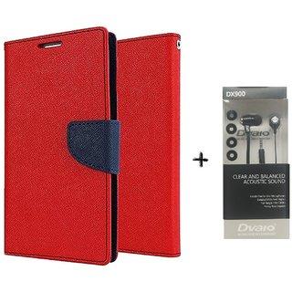 Motorola Moto E Mercury Wallet Flip Cover Case (RED) WITH CLEAR EARPHONE