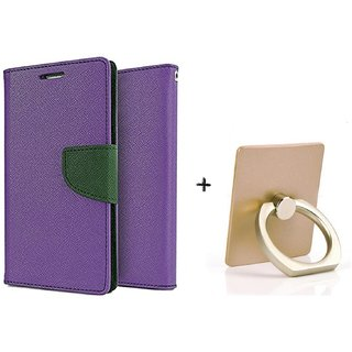NOKIA 520  Mercury Wallet Flip Cover Case (PURPLE) WITH MOBILE RING STAND