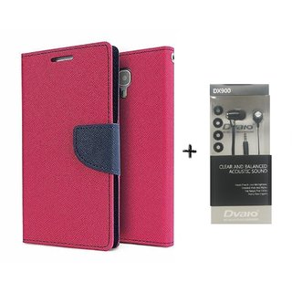 Micromax Bolt A069 Mercury Wallet Flip Cover Case (PINK) WITH CLEAR EARPHONE
