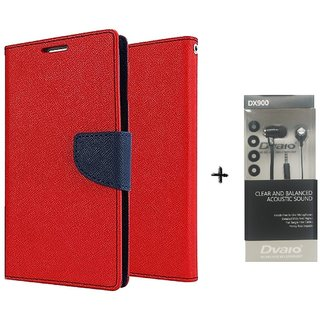 Micromax Canvas Xpress 2 E313 Mercury Wallet Flip Cover Case (RED) WITH CLEAR EARPHONE