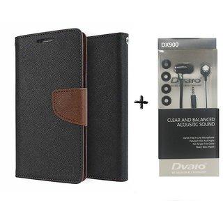 Moto X 3 Mercury Wallet Flip Cover Case (BROWN) WITH CLEAR EARPHONE