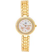 Shostopper Royal Gold White Dial Analogue Watch For Women - SJ62034WW