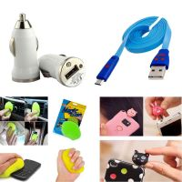 Novel Single USB Car Charger  Charging Cable With Cleaning Jelly Combo