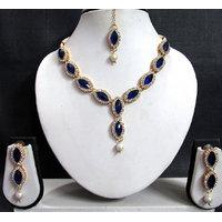 Dark Blue Oval Stone Necklace Set
