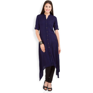 Vishudh Blue Plain Viscose Stitched Kurti