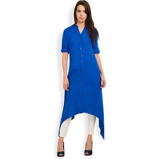 Vishudh Blue Solid Mandarin Collar 3/4th Sleeve Viscose Kurta