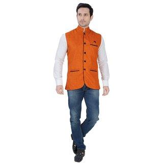 Nu abc orange Nehru Jacket for men