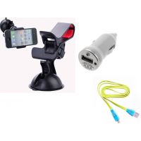 Novel Clip Clamp Holder  Single USB Car Charger With Charging Cable Combo