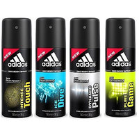 Adidas Deodorants Intense Touch, Ice Dive, Dynamic Pulse And Pure Game Of 150 ML Each (Set Of 4) For Men