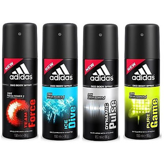 Adidas Deodorants Team Force Ice dive Pure Game and Dynamic Pulse 150 ML Each (Set of 4) For Men