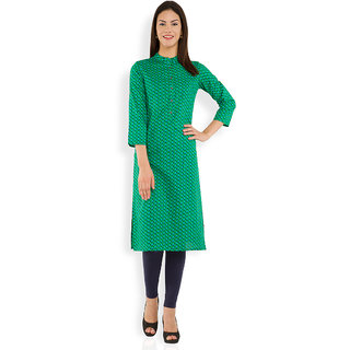 Vishudh Green Printed Cotton Stitched Kurti