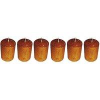 Atorakushon Smokeless Scented Pack Of 6 Golden Round Pillar Candles For Diwali
