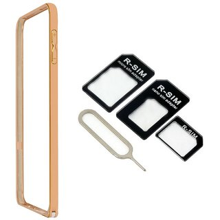 Bumper case for Samsung Galaxy Ace 4 LTE G313 (GOLDEN) With Nossy nano sim adapter