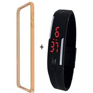 Bumper case for Samsung Galaxy E5 (GOLDEN) with digital watch