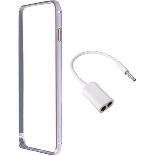 Bumper case for HTCDesire816 (SILVER) With Aux Stereo 3.5mm