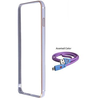 Bumper case for Samsung Galaxy A8 (SILVER) With Usb Smiley Data Cable
