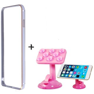 Bumper case for HTCDesire526 (SILVER) with Car Mobile Holder Stand