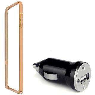 Bumper case for Samsung Galaxy Ace 4 LTE G313 (GOLDEN) With Car Charger Adapter