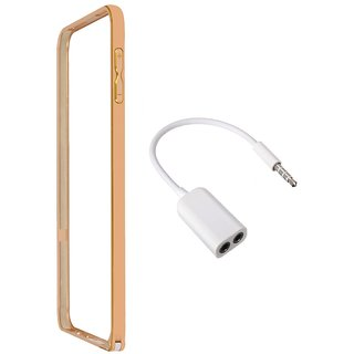 Bumper case for Samsung Galaxy s6 (GOLDEN) With Aux Splitter 3.5mm