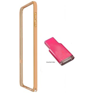 Bumper case for Samsung Galaxy Alfa SM-G850 (GOLDEN) With Memory Card reader