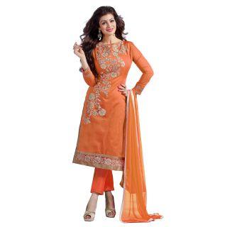 Trendz Apparels Orange Chanderi Cotton Straight Fit Salwar Suit