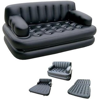 Skyshop - Pvc 3 Seater Inflatable Sofa (Color - Glossy Black)