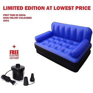 5 In 1 Air Sofa Bed Non Velvet Pvc Dark Blue Recliner