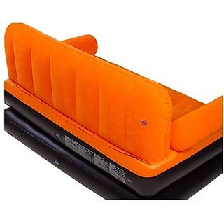 Skyshop - Airsofa 5 In 1 Air Bed Velvet Mattress Lounge Seat Couch Carbed With Electric Pump Pp 3 Seater Inflatable Sofa (Color - Orange)