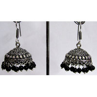 Black Drop Silver Jhumka Earring