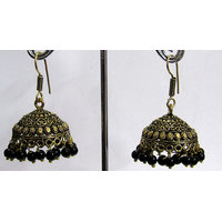 Black Drop Antic Jhumka Earring