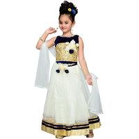 Aarika Girls Self Design Garbha Special Lehenga Choli and Dupatta Set