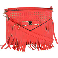 Kleio Designer Metal Bow Fringe Sling Bag (Red)