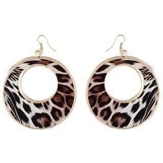 9blings Cheetah Printed Round Brown Ethnic African Big Hoop Style Earring